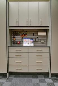 modular flooring, garage cabinets, custom garages