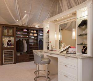 custom closet, custom vanity, marble vanity