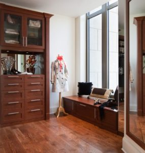 mudroom bench, custom closet,  custom wardrobe and shelving