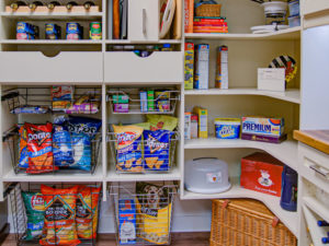 custom pantry, pantry shelving, wire baskets