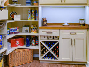 custom pantry, storage cabinets, wine rack