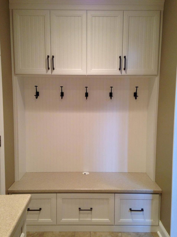 Mudroom Bench, Clothing Hangars, Laundry Cabinet