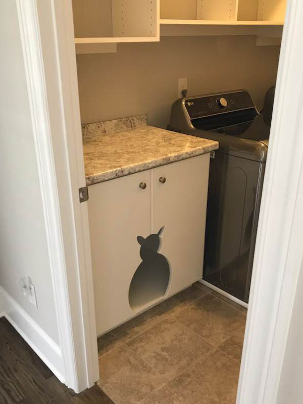 pet friendly cabinet, laundry cabinet, cat laundry cabinet