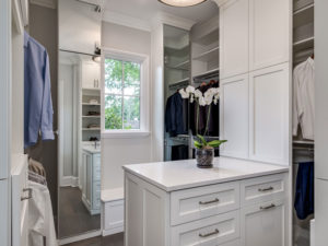 custom closet, white center island, custom wardrobe