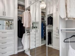 Custom Closet, White Walk-in Closet, Mirrored Doors