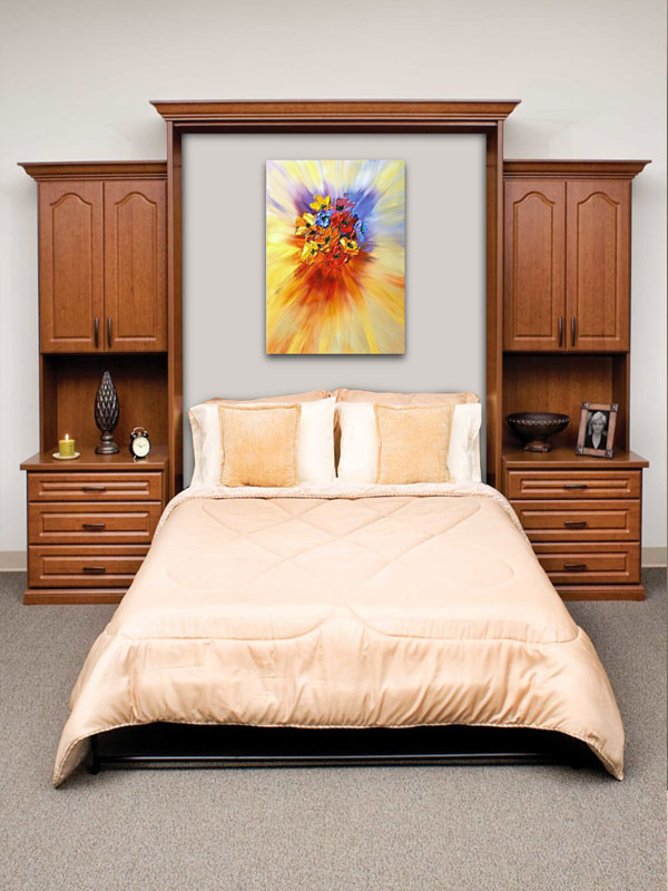 wall bed, custom cabinets, murphy bed
