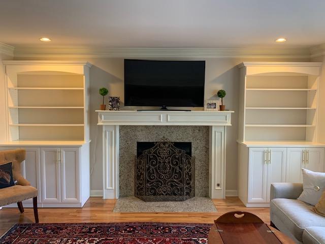 customized built-in, custom shelving, living room built-in